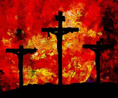 Trois crucifiés sur fond rouge impressionniste